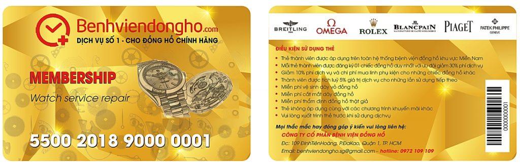 Thẻ thành viên Bệnh viện đồng hồ TP Hồ Chí Minh